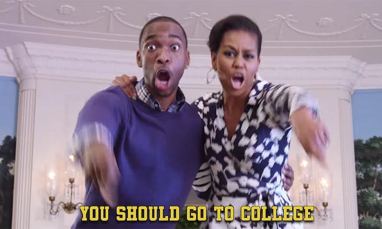 Michelle Obama rapea para que vayas a la universidad