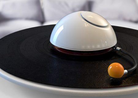 Diseñan un tocadiscos con la forma de Saturno y sus lunas